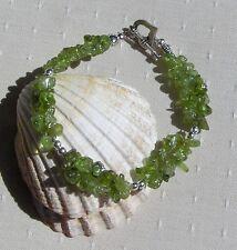 "Green Peridot Crystal Gemstone Chakra Bracelet ""Celtic Spring"""