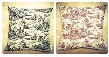 Handmade Toile De Jouy 69.Red & 70.Black LINEN Cotton Cushion Cover