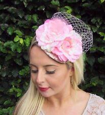 Blush Light Pink Champagne Ivory Flower Fascinator Races Wedding Headband 3535