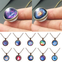 Space Universe Double Sided Glass Ball Necklace Galaxy Pendant Solar System
