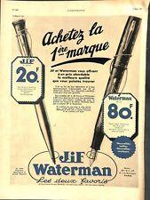 Publicité Stylo bille Jif & Stylo Plume Waterman.Montre Rolex ILLUSTRATION 1936