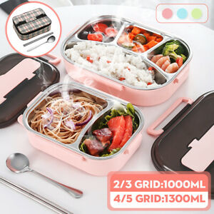 AU Stainless 2-5 Grid Thermal Insulated Lunch Box Bento Food Container Women