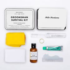 Homme Society-Groomsman Survie Kit-Ring/ Mouchoir/ Peigne/ Shoe Nettoyant /