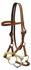 Showman SIDE PULL Argentina Leather Headstall Twisted Rope Noseband SNAFFLE BIT