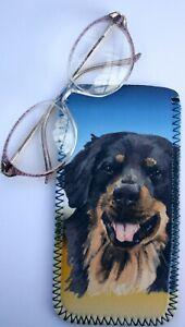 HOVAWART DOG NEOPRENE GLASS CASE POUCH  SANDRA COEN ARTIST WATERCOLOUR ART