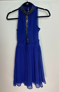 River Island Ladies Dress Size 6 Blue Beaded Party Coctail Evening