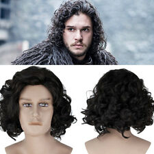 COSLIVE Game of Thrones Jon Snow Short Black Curly Cosplay Costume Men Wig Hair