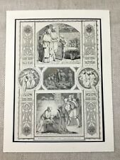 Victorian Christmas Story Greetings Message Angels Genuine Antique Print