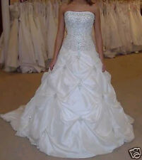 White A line Taffeta Embroidery Beading Cheap Wedding Dress US Size 10 Lace up