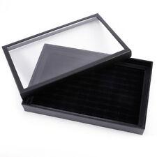 Présentoir bague 100 slot noir Boîte à bijoux organisateur stockage avec vitrine