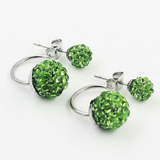 Charming Women Crystal Double Beads Ear Stud Jewelry Shiny Silver Plated Earring Grass Green