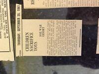 M3-9b ephemera 1941 dagenham ww2 war news children hardie road buy r a f boat