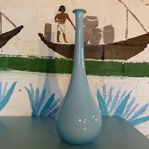 Blue Retro Mid Century Glass Genie Bottle