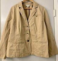 Coldwater Creek Khaki Cotton Nouvelle Twill Jacket Blazer Size 20/22 NWT $89.95