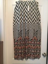 Spense Sz XL Women  Black/White/Orange Geometric Print Maxi Skirt W/ Side Split!