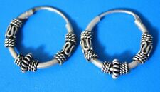 Vintage Sterling Silver 925 Ornate Hoop Earrings Pierced
