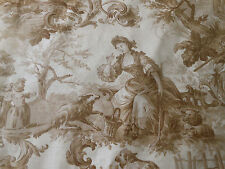 Vintage French Pastoral Cotton Toile Fabric ~ Girl Sheep Courting Couple ~ Brown