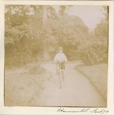 France, Chaumontel, Garçon sur sa bicyclette, 1896, Vintage citrate print Vintag