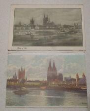 Köln: 2 alte Kunstpostkarten, vermutlich vor 1945 entstanden. Rhein und Dom.