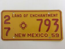 "1959 New Mexico License Plate Commercial Truck Pickup ""Very Good"" Condition Nice"