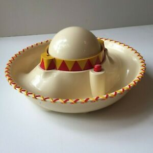RARE Original Mexican Hat Chips & Salsa MUSICAL Bowl Sombrero Serving Tray 2001