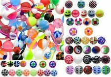 100  x Flexible Tongue Bars, great designs and colours - Acrylic