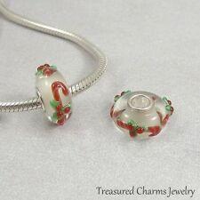 Candy Canes Christmas Lampwork Large Hole Bead Charm fits European Bracelets