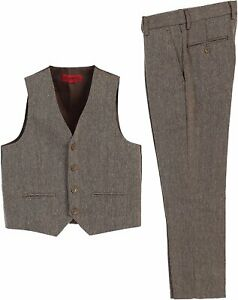 Gioberti Boys 2 Piece Tweed Plaid Vest and Pants Set - Size 16 (64-54 in height)
