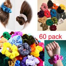 60 Pcs Hair Ties Velvet Silk Satin Scrunchies Scrunchy Bands Hairstyle Accessory