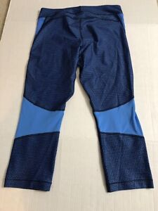 Women's Under Armour Heat Gear Fitted Compression Capri Large Blue Crazy Patern