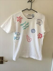Talbots Petites White Short Sleeve Top With Beach Motifs 100% Cotton In Size S