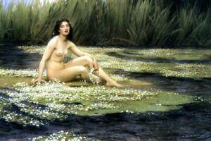 Herbert James Draper Art Print Nude Female Woman The WATER NYMPH Spirit Pool