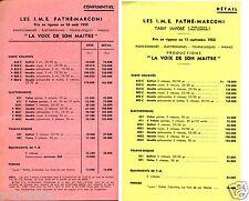 Publicité Tarifs Radio TSF phono phonographe Pathé Marconi année 1952