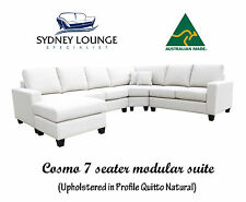 AUSTRALIAN MADE Cosmo 7 seater Fabric Chaise Modular Sofa Lounge Couch
