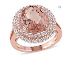 Fashion Women Lady Morganite Gemstones 14K Rose Gold Filled Wedding Ring Size 7