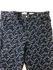 LOGO Lori Goldstein Womens 20W Floral pattern Blue Denim Straight Jeans