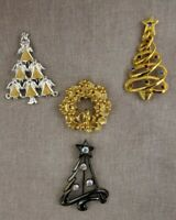 Christmas Tree Wreath Brooch Lot of 4 Goldtone & Silvertone Rhinestone 1980's