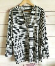Calvin Klein Women's Shirt Top Size XL Uk 22/24 Black Stripe Smart Casual Work