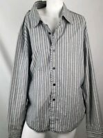BKE Men's Shirt xl Long Sleeve Button Down  slim fit black white gray cotton
