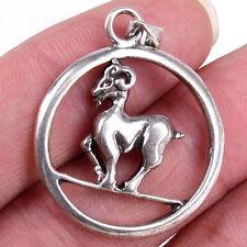 Mens Circle Goat Tibetan 925 Stamped Sterling Silver Charm Pendant M1454