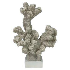 "Seaside Garden Faux Coral Accent Indoor Sea Beach Home Decor White 7.25"" x 5"""
