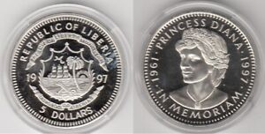 Monnaie République du Liberia 5 Dollars 1997