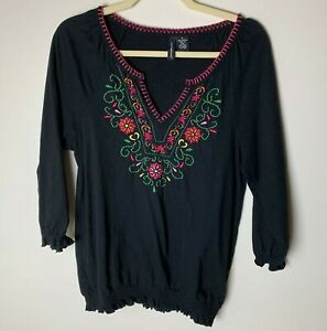 Jason Maxwell Women's Top Size Small Floral Embroidery Cotton 3/4 Sleeves Casual
