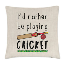I'd Rather Be Playing Cricket Linen Cushion Cover Pillow - Funny Sport