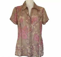 Katies Brown Pink Floral Blouse Size 12 Button Up Collar Short Sleeve Sheer