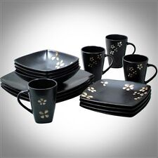 32 PIECE SQUARE DINNERWARE SET STONEWARE DISH PLATES DINNER SERVICE FOR 8 BLACK