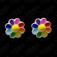 925 Sterling Silver Rainbow Flower Daisy Stud Earrings Studs Girls Women Child