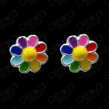 925 Sterling Silver Rainbow Flower Daisy Stud Earrings Studs Girls Women Child