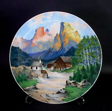 sehr grosse antike Wandplatte AMBERG um 1890 - ALPENLANDSCHAFT Dolomiti - sign.