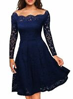 Women Off Shoulder Lace Casual Cocktail Party Vintage Wedding Evening Lady Dress